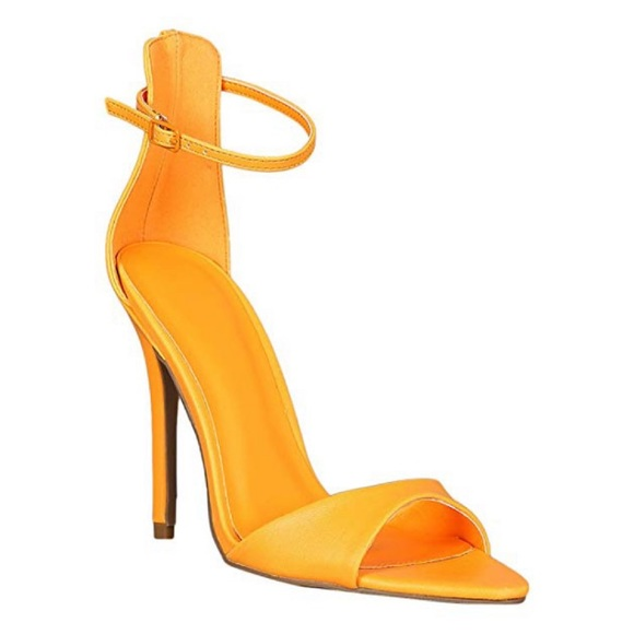 BAMBOO Shoes   Orange Open Toe Heel
